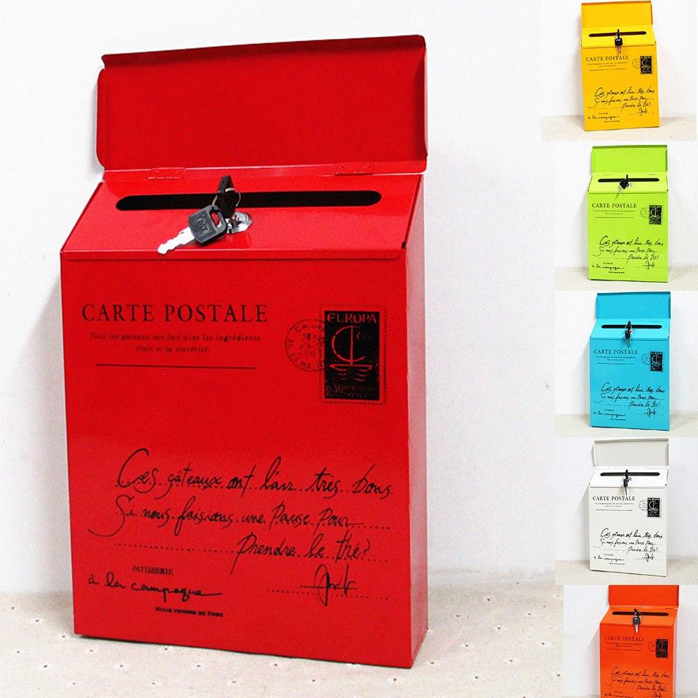 Cerradura de hierro carta caja de pared Vintage de montaje en buzón de correo carta periódico caja DAG-barco