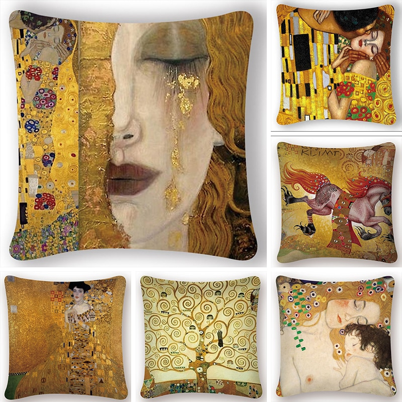 Gustav Klimt Oil Painting Cushion Cover Gold Pattern Print Pillow Case Vintage Decorative Pillow Cov
