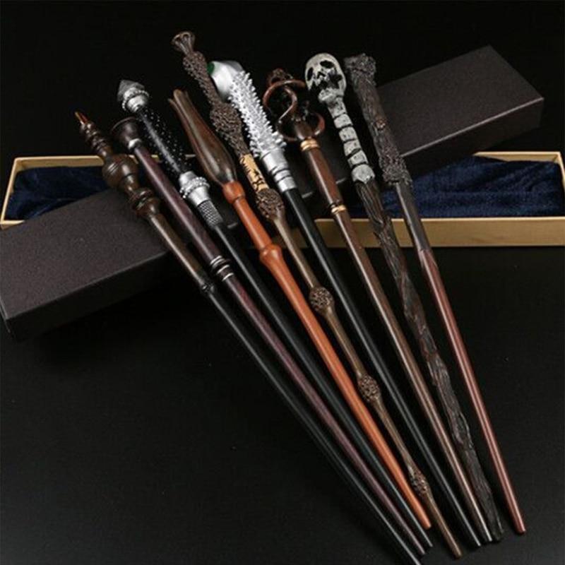 High Quality 27 Kinds of Harried Metal Core Magic Wands Dumbledore Voldmort Hermione Malfoy Cosplay Magical Sticks Without Box