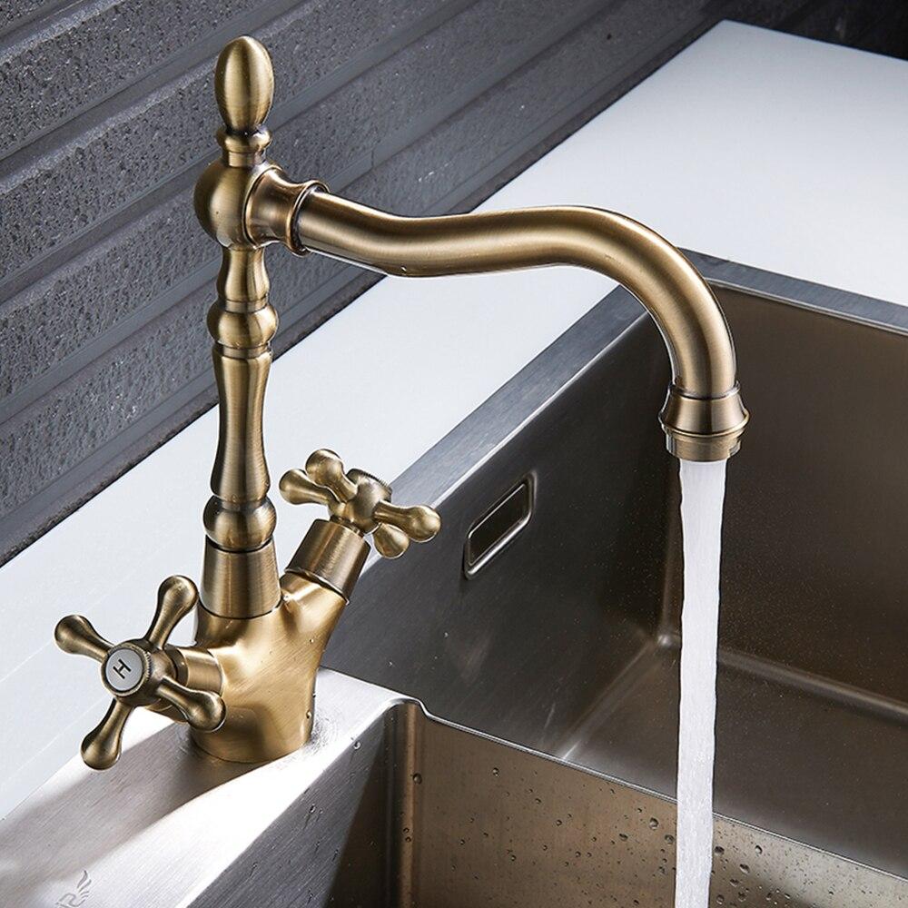 صنبور حوض الحمام الكلاسيكي ، صنبور حوض نحاسي عتيق ، صنبور دوار بمقبض واحد ، ماء ساخن وبارد ، ملحقات الحمام