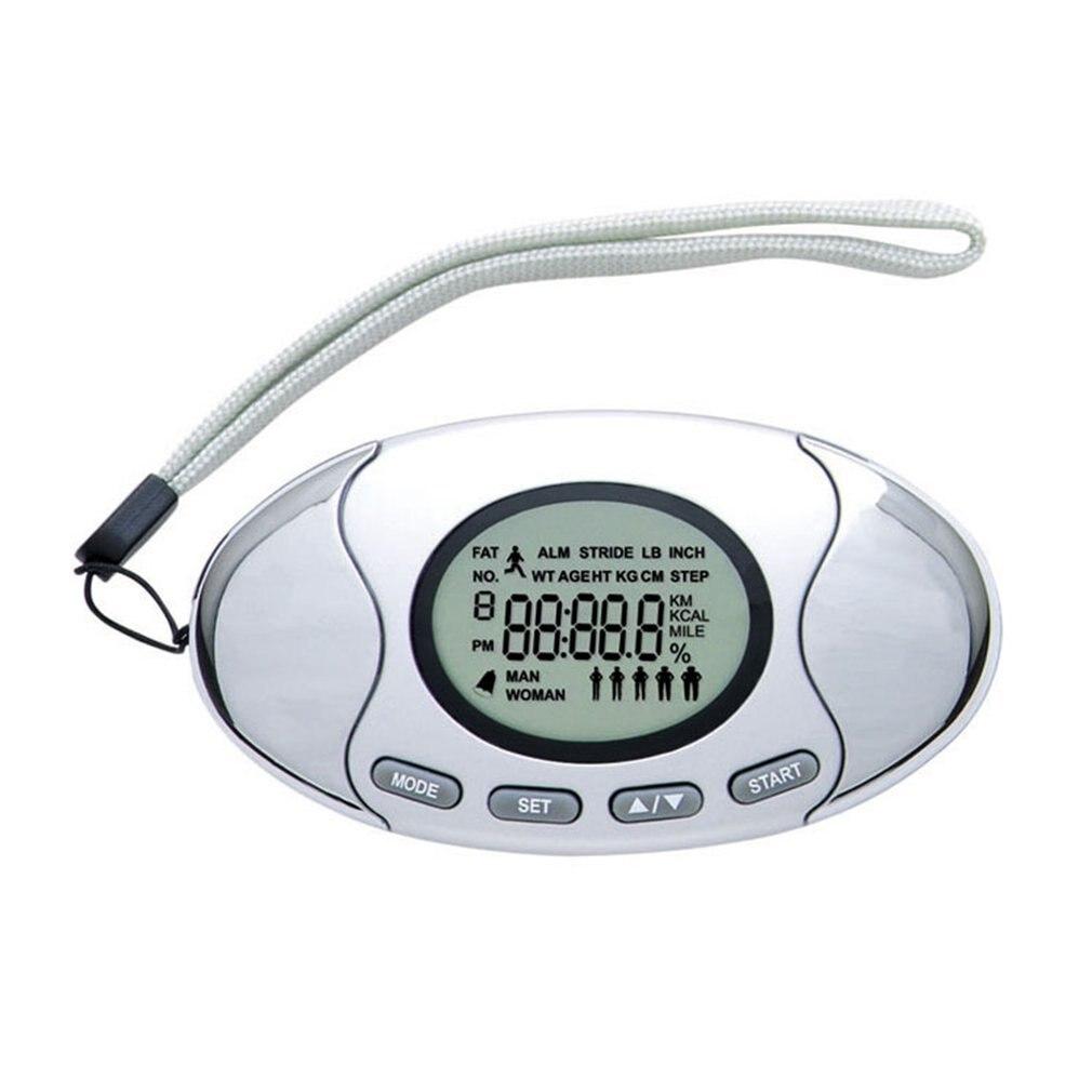 Contador de calorías del podómetro Digital LCD multifunción 2 en 1 para correr distancia a pie Analizador de grasa corporal