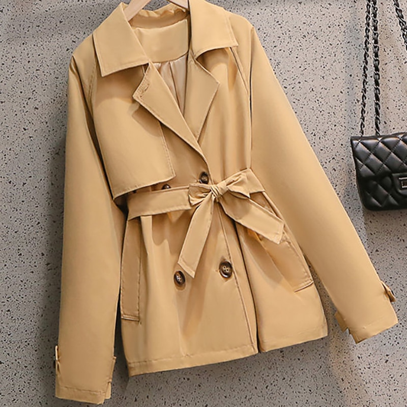 Women Short Trench 2021 New spring Autumn Casual Trench Coat  Double Breasted Vintage Cloak Overcoats Windbreaker Size 4XL chic women s trench coat spring autumn belted short coat fashion slim fit double breasted short trench coat g092