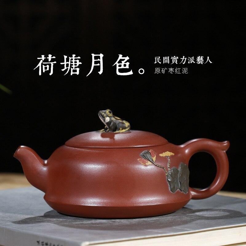 Lotus pond moon-إبريق شاي بنفسجي ، مصنوع يدويًا ، على شكل ضفدع ، للبيع بالجملة ، طقم شاي عالي الجودة مخصص ، وكالة المبيعات