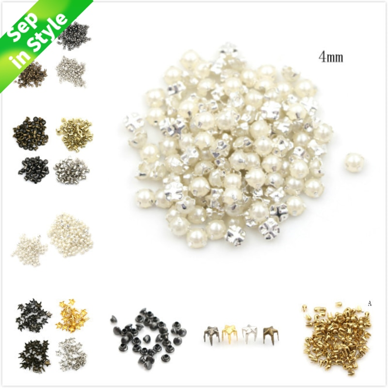 100pcs 3/4MM Pearl Buckle 2/2.5/5mm Buckles Handmade Craft 4mm Mushroom Nail Trumpet Rivets DIY Patchwork Sewing Accessories 100pcs lot 3 20colors diy polyester fluffy ballerina chiffon flower with pearl button in centre handmade accessories
