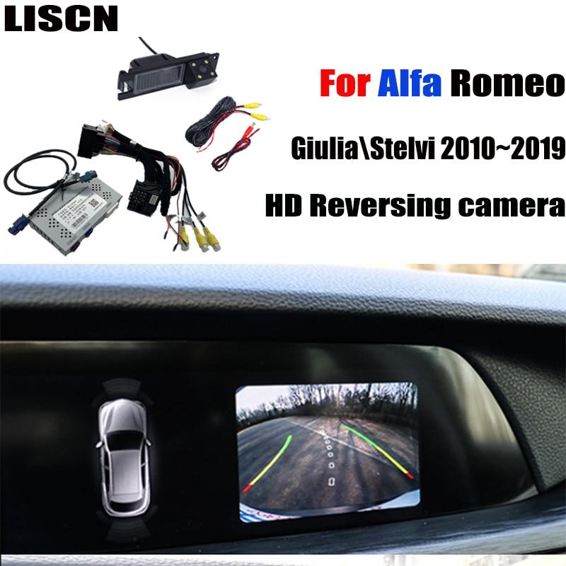 Cámara de visión trasera para Alfa Romeo Giulia  Stelvi 156 166 2010 ~ 2020 pantalla Original que actualiza la interfaz de la cámara de marcha atrás decodificador