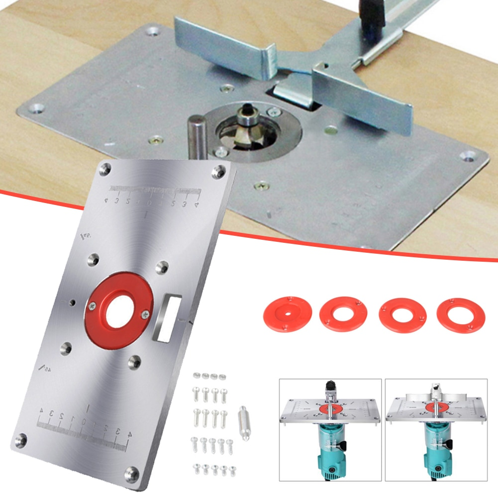 Aluminium Alloy Router Table Insert Plate Woodworking Tools Trimming  Machine Flip Board For Bosch GKF 550 And Makita RT0700C