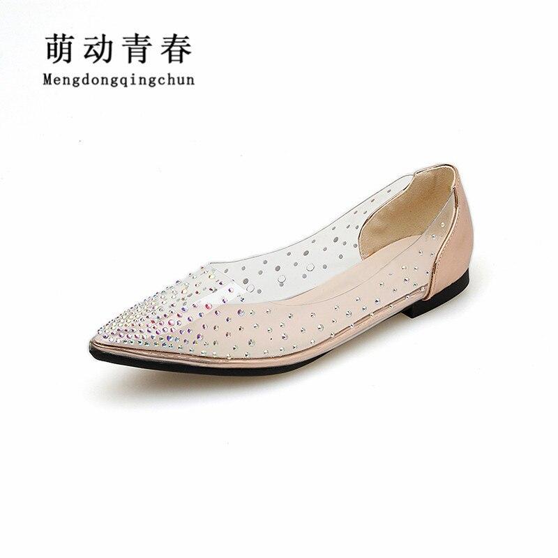 Zapatos planos de cristal para mujer, botas planas informales, cristales, diamantes de imitación, pisos de PVC transparentes de cuatro estaciones, zapatos planos de novia de punta estrecha