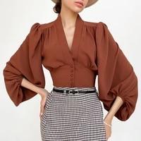 2021 women spring blouses sexy v neck puff sleeve womens tops and blouses fashion women shirt blusas roupa feminina