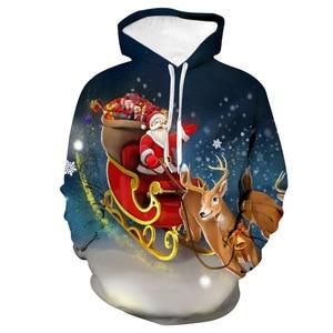 Unisex Christmas Santa Claus Elk Sleigh 3D Digital Print Loose Hooded Sweater Pullover Women Men Xmas New Year Sweatshirt Hoodie