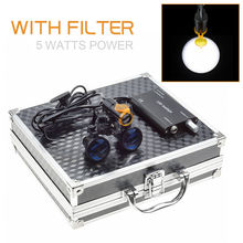 Binocular Dental Loupes Light Magnifying Glasses+5W Magnifying Lamp LED Headlight with Filter Aluminum Box 2.5X/3.5X Black