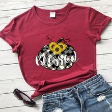 Colored Blessed Sunflower Plaid Pumpkin T-shirt Aesthetic Autumn Thanksgiving Tshirt Vintage Women F