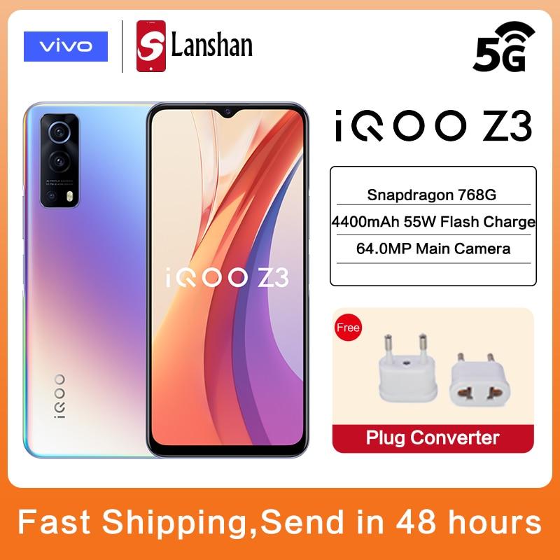 Перейти на Алиэкспресс и купить Оригинальный 5G vivo IQOO Z3 5G Смартфон Snapdragon 768G 120 Гц 6,58 ''гоночный Экран 4400 мА/ч, 55 Вт, мгновенная зарядка Android мобильный телефон