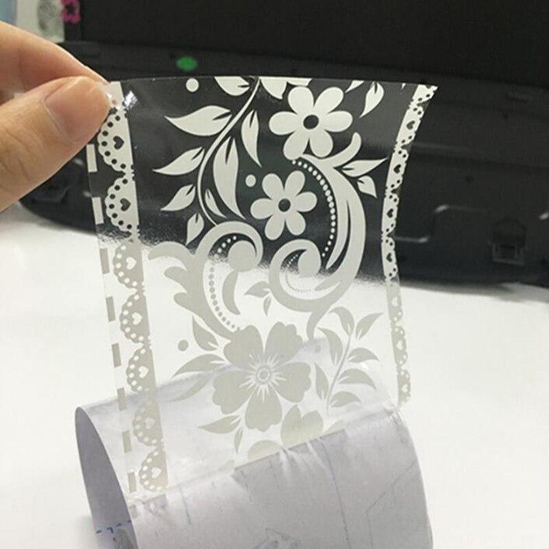 Fondo de pantalla desmontable transparente de encaje blanco, pegatina de ventana para escaparate, espejo de baño, corona decorativa