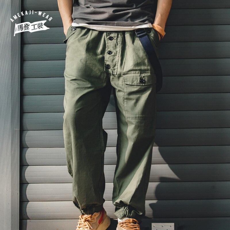 Maden الجيش الأخضر البضائع السراويل الرجال خمر جيب فضفاض حزام سطح السفينة بانت الكلاسيكية مرونة الرباط السراويل العصرية للرجال