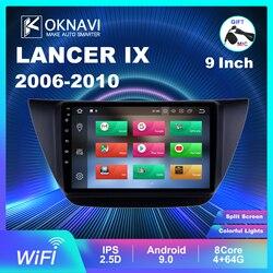 Oknavi android9.0 2din unidade principal rádio do carro wifi estéreo gps ips tela multimídia player para mitsubishi lancer ix 2006-2010