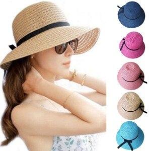 richkeda store new arrvial  Summer Hat Floppy Foldable Ladies Straw Beach Sun Hats Beige Wide Brim Breathable Cap Outdoor Beach