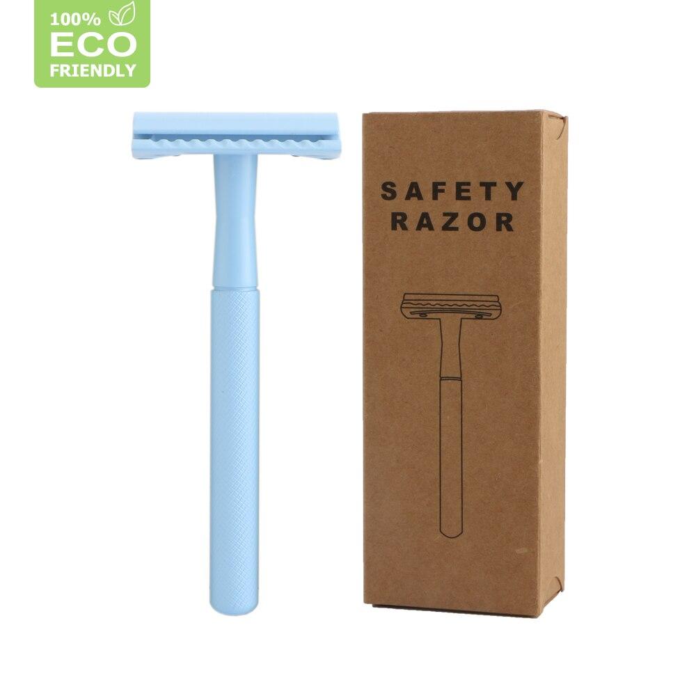 Edieu Manual Safety Razor For Men Eco-friendly Blue Double Edge Shaving Razor Women Hair Removal Tools 20 Shaving Blade
