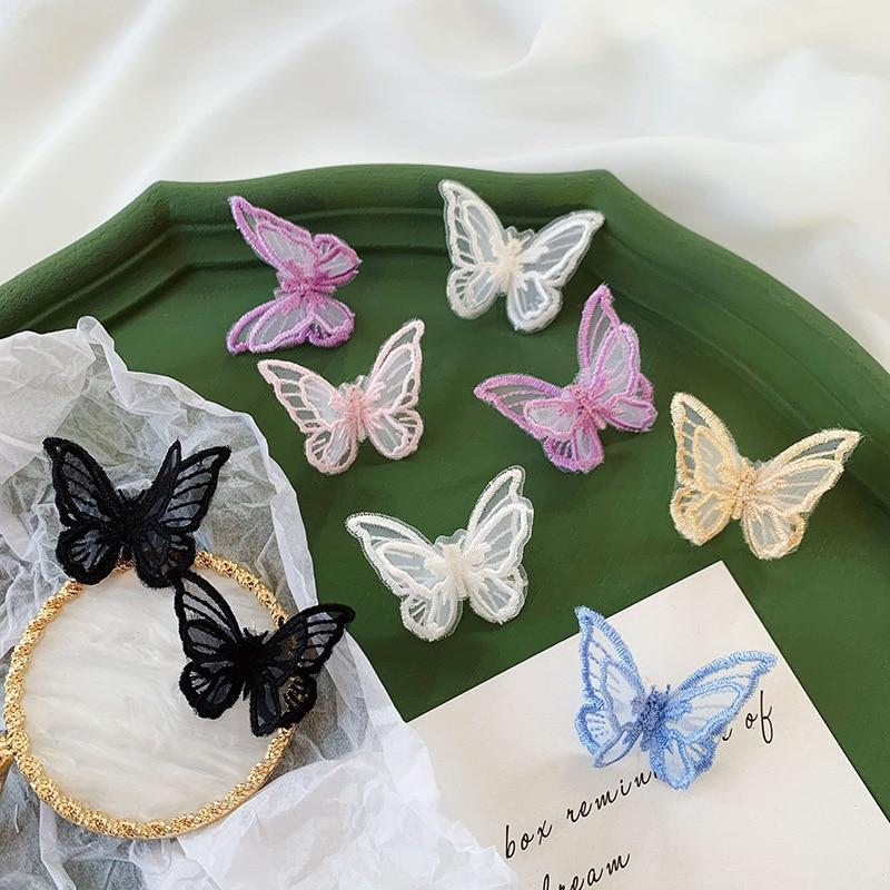 Ziccowong moda chiffon laço borboleta brincos para mulheres menina boêmio doce colorido animal orelha do parafuso prisioneiro jóias presente