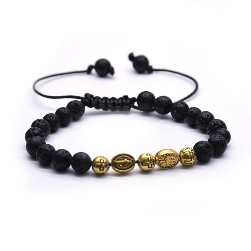 Qigo metal maria coração strand pulseira cruz pingente rosário pulseira pulseiras para mulher