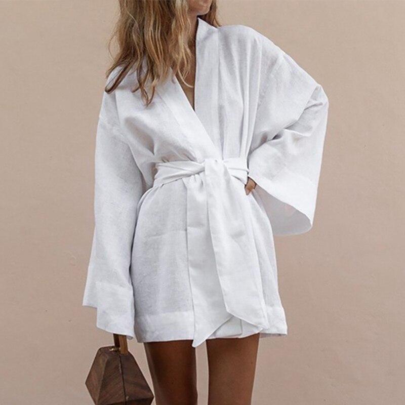 LITTHING mujeres Kimono con cuello en V Cardigan Mini vestido de lino blanco de algodón de manga larga fajas Vestidos atados arriba de verano Vestidos sueltos