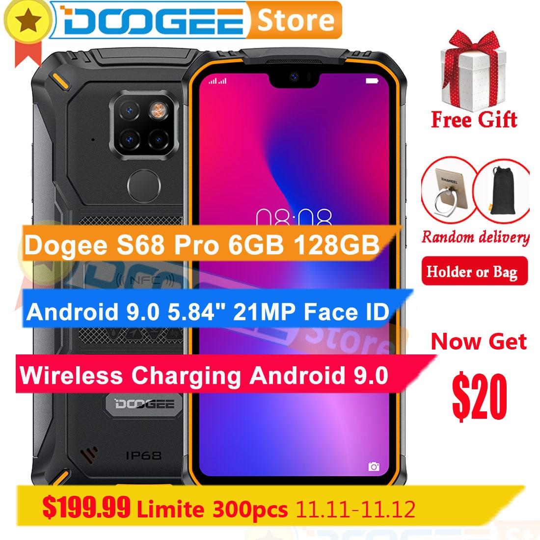 "Doogee s68 pro 6 gb 128 gb telefone celular android 9.0 5.84 ""octa núcleo 6300 mah 21mp câmera impressão digital id sem fio carga 4g smartphone"