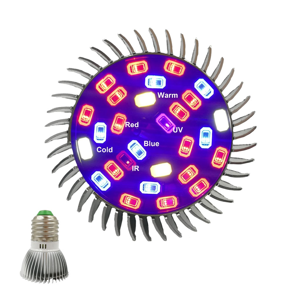 Lámpara LED E27 de espectro completo para cultivo de plantas, lámpara led para cultivo de plantas, 28leds, rojo, azul, UV, lámpara LED para cultivo de plantas y flores hidropónicas
