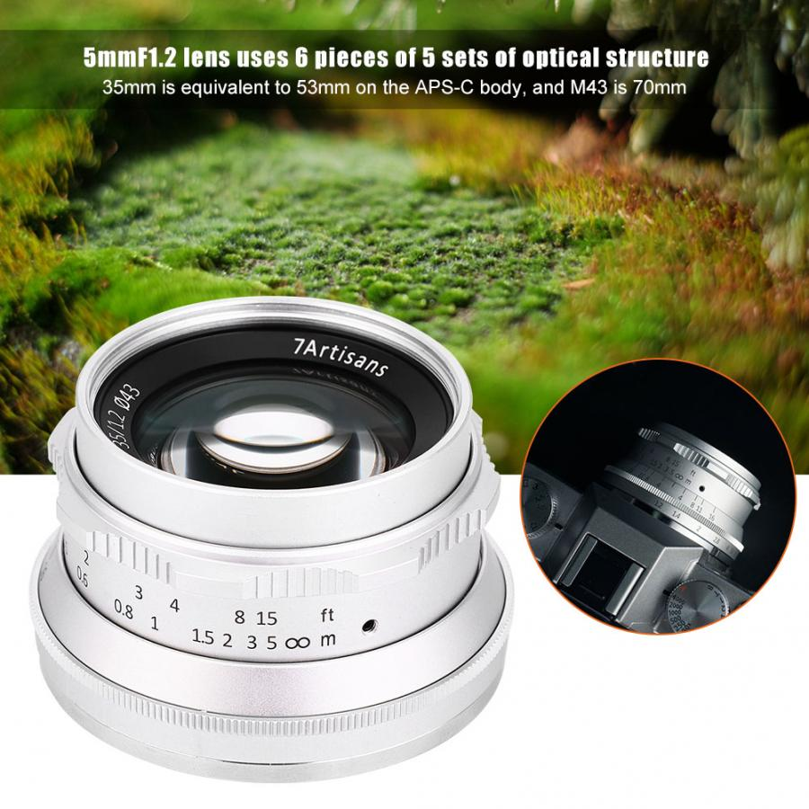 7artisans 35mm F1.2 lentille Large Aperture Lens Manual Focusing for Sony E-Mount / Olympus/ M4/3 Camera SLR