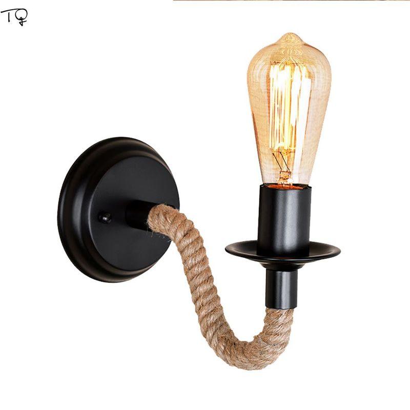 Lámpara Industrial Vintage Led, lámpara de pared, cuerda Retro de cáñamo, iluminación de pared, decoración creativa, luz, pasillo, dormitorio, cabecera, sala de estar