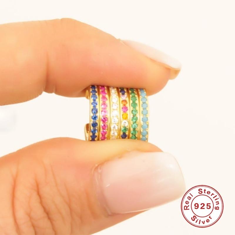BOAKO 1PC Pendientes de Plata para mujer colorido Clip de circonio en...