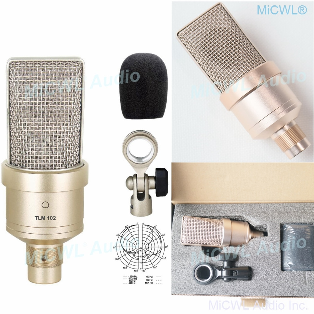 Nuevo TLM-102 micrófono condensador de estudio de diafragma grande para grabación de red PC escénica micrófono cardioide no Neumann