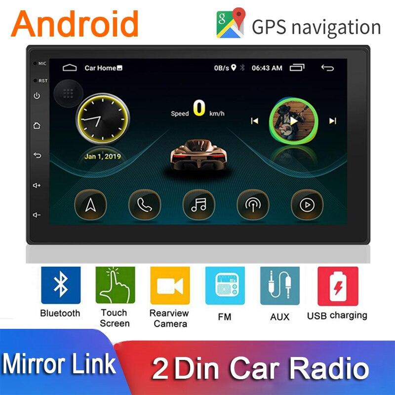 2 din rádio do carro android gps wifi 7 player player multimídia jogador 2din autoradio tela sensível ao toque bluetooth fm player de áudio receptor estéreo do carro