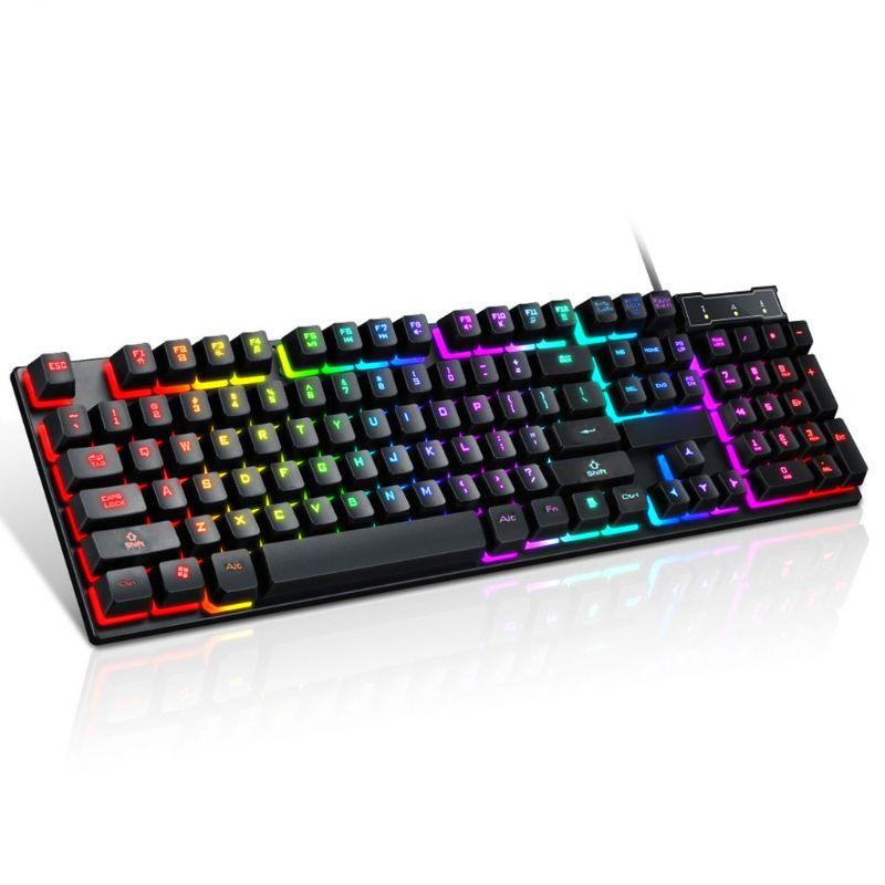 USB Проводная игровая клавиатура с 104 клавишами, Механическая Подсветка для компьютера и ноутбука