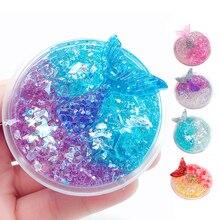 60ML Slime cristal boue clair galaxie slime sirène poisson lizun handgum anti-stress jouet pour enfants enfants pâte à modeler boue mastic
