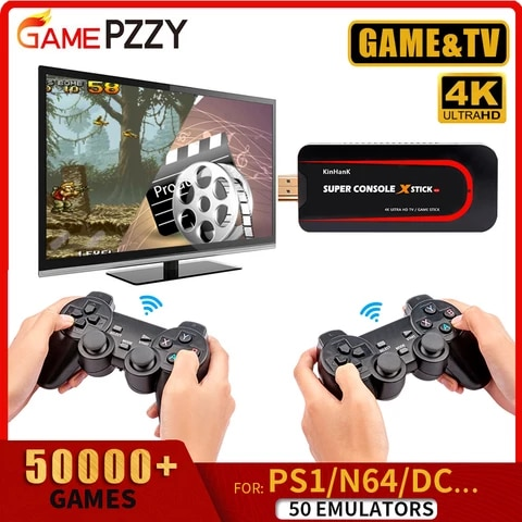 Super Console X-STICK Video Game Console With Wireless Controllers Retro Game Console Built-in 50 Emulators 50000 Games For PS1