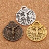 saint jesus benedict nursia patron medal crucifix cross 12pcs zinc alloy bronze charms pendants 24x21mm l1658