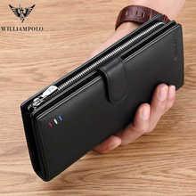Обувь из высококачественной натуральной кожи длинный мужской кошелек модный мобильный телефон кошелек-держатель кредитных карт, деловой К...