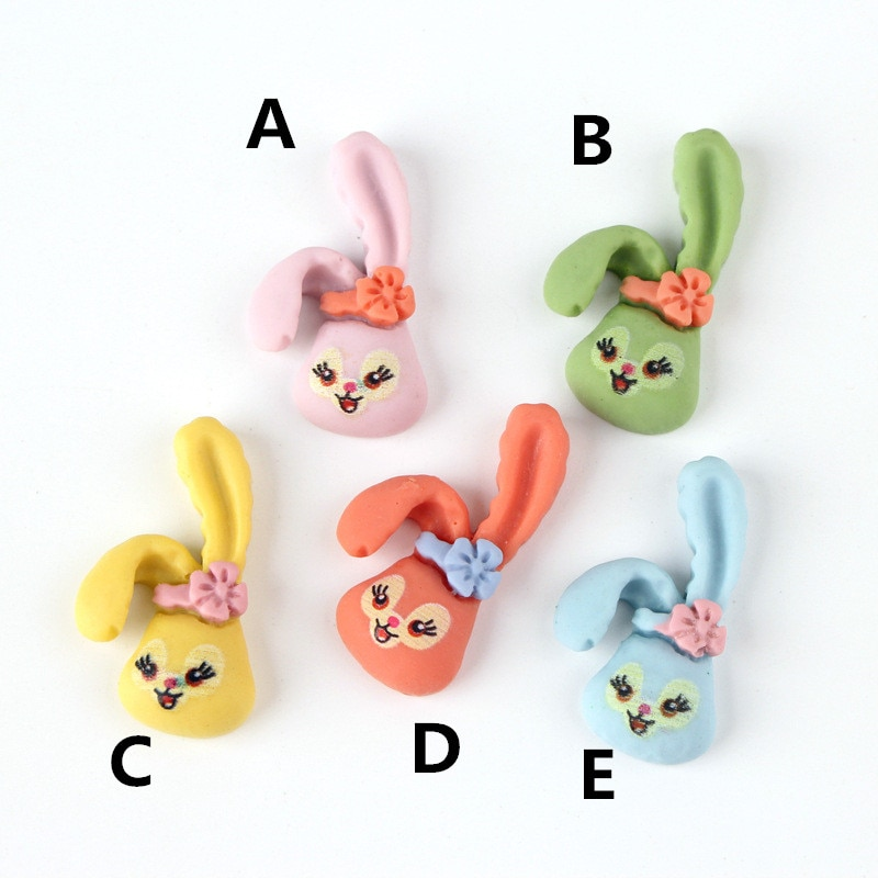 Cabujón de resina kawaii lindo Animal conejo forma Flatback parche pegatina botones teléfono cáscara foto marco Clip para el pelo DIY 16*29MM