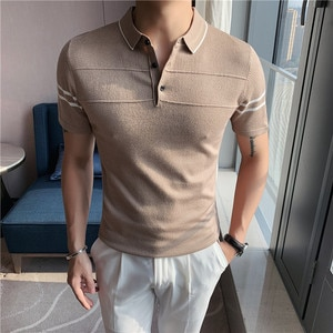 Knitted Men's Short-sleeved Polo Shirt 2021 Summer New Casual Slim Stretch High-quality Fashion Men's Short-sleeved Polo Shirt