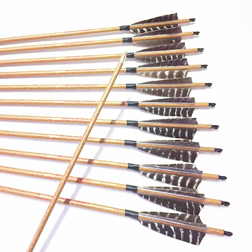 "12pcs Archery carbon arrows wood skin arrow shafts spine500 ID6.2mm 5"" stripe Turkey fletching feathers traditional bow"