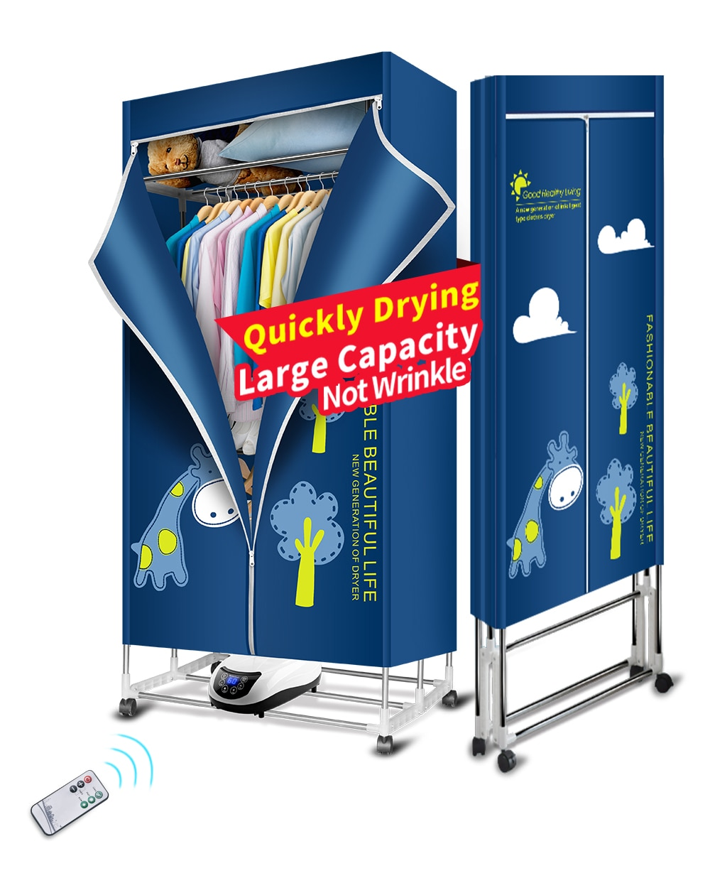 KASYDoFF Clothes Dryer Portable 1500W-1.7 Meters 3-Tier Foldable Clothes Drying Rack Energy Saving (Anion) Clothing Dryers Digit