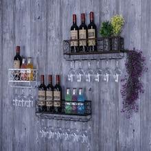 Wall Mount Wine Rack Wine Bottle Metal Shelf Glasses Goblet Holder Home Bar Christmas Decoration Storage Holder Rack