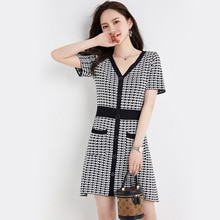 Partysix 2021 Summer High Quality Single-Breasted Houndstooth Retro Knitted Dress Women Sexy Short S
