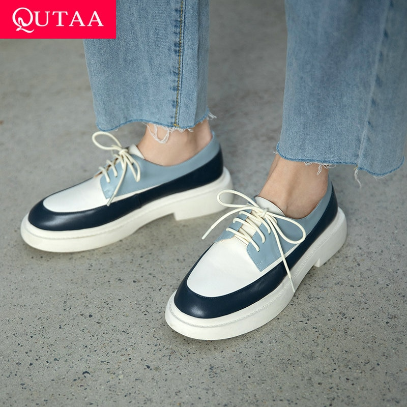 QUTAA-حذاء نسائي بكعب مربع من الجلد الطبيعي ، حذاء برباط ، لون مختلط ، عصري ، موسم الربيع والخريف ، مقاس 34-39 ، 2021
