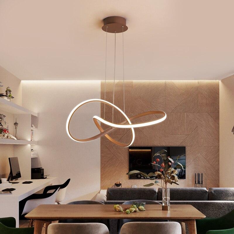 Luces colgantes LED modernas creativas Bar cafetería restaurante Oficina iluminación interior lámpara colgante decorativa color café