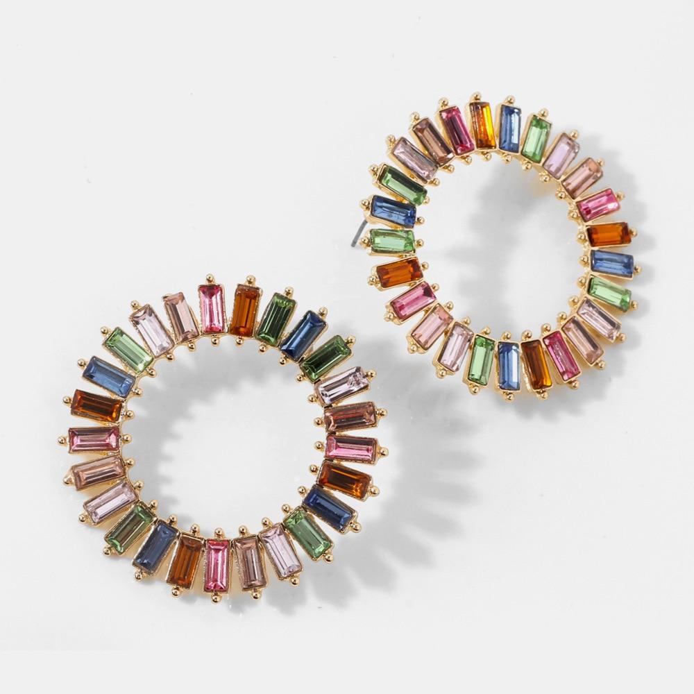 Estilo europeu e americano brincos de cristal multi cor brincos redondos moda brincos grande anel de orelha criativa jóias femininas