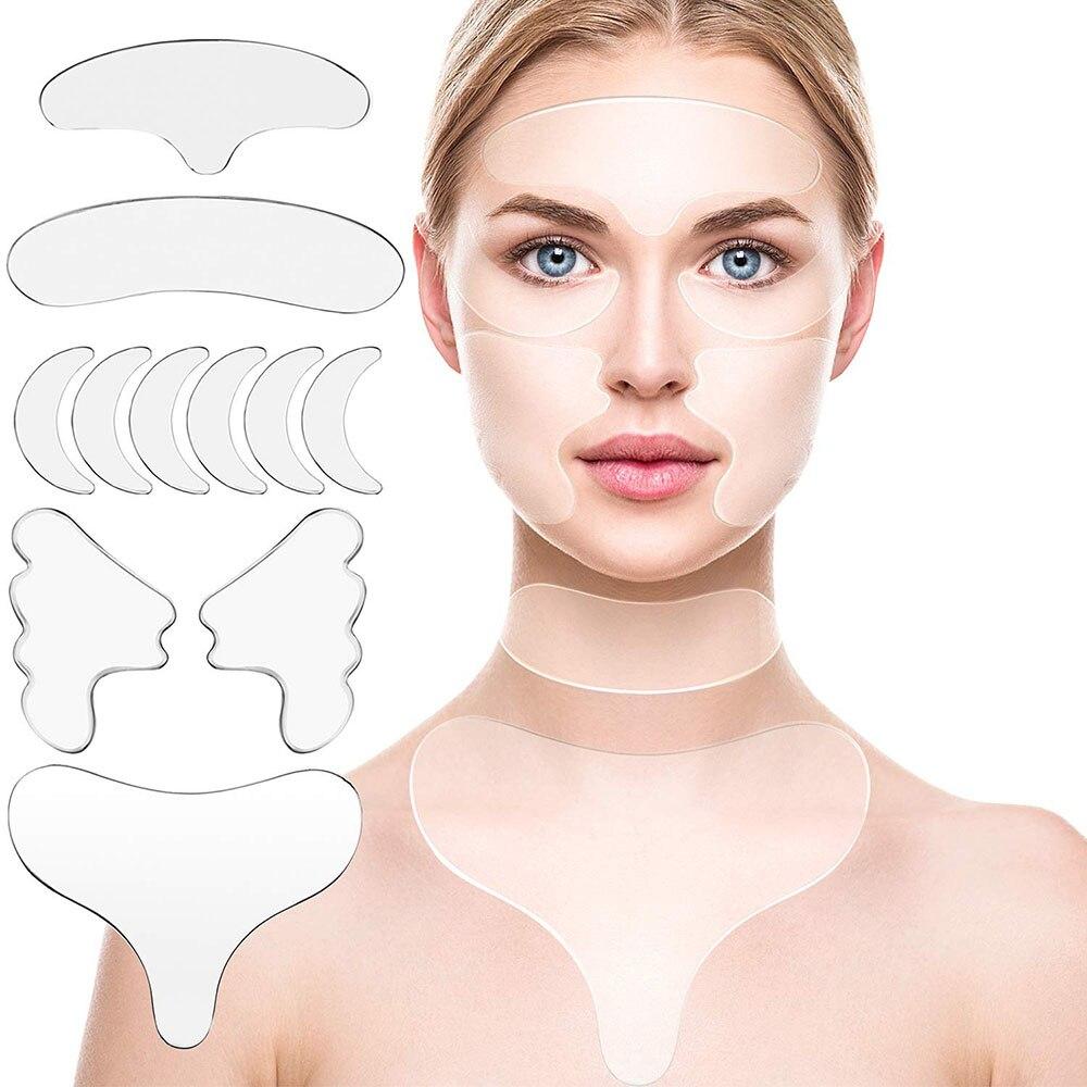 11 unids/set de silicona reutilizable eliminación de arrugas cara pegatina para la frente Cheek Chin Neck Facial Eye parche antiarrugas estiramiento Facial