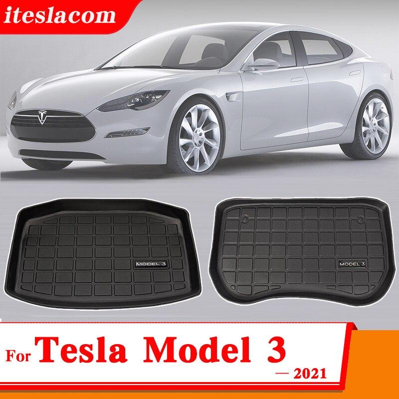Новая модель 3 2021 автомобильный передний коврик/багажник коврики для хранения Tesla модель 3 автомобильные аксессуары Грузовой лоток багажник...