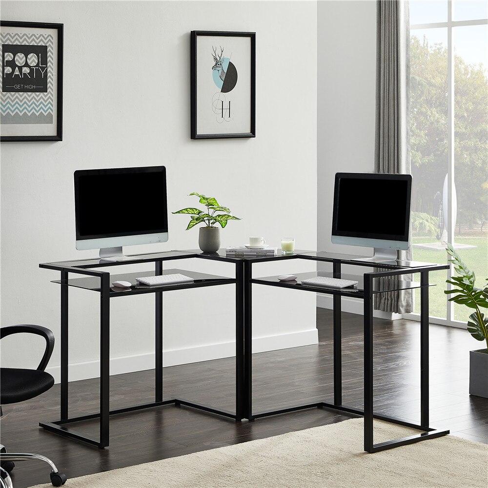 L-образный компьютерный стол, 56 дюймов, стеклянный стол с полкой, Круглый Угловой стеклянный Рабочий стол, офисная мебель