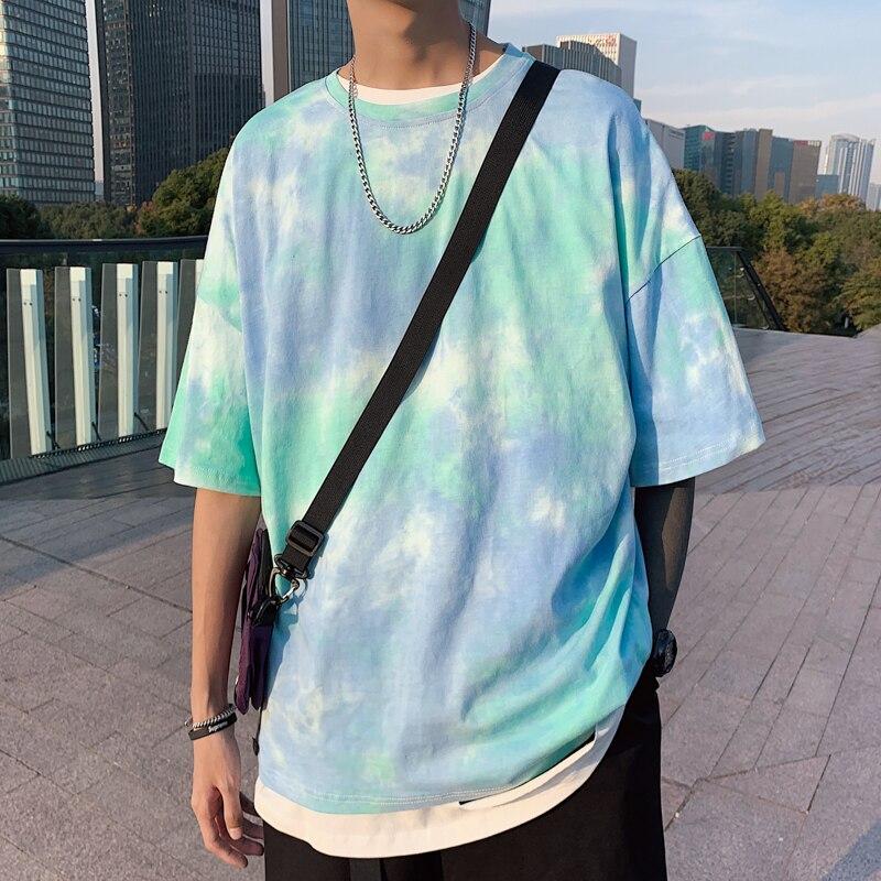 Camisetas de gran tamaño de verano para hombre de Hip Hop 2020 Tie Dye, pantalón corto Casual con mangas moradas, ropa de calle