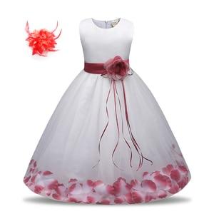 Junior Children Wedding Pageant Rose Petals Girl White Dress with Bow Tie Sash Baby Toddler Flower Wedding Dress for Kids